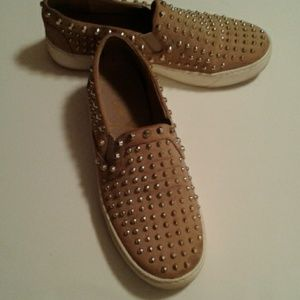 Sam Edelman loafers size 8 in tan and gold